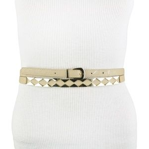 Beige Gold Faux Leather Double Wrap Belt